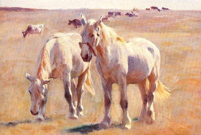 Michael Therkildsen Horses Cattle in Summer Pastures, De