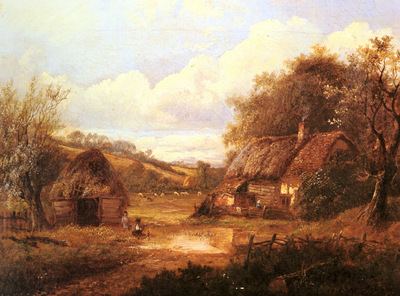 Thors Joseph Landscape With Figures Outside A Thatched Cottage