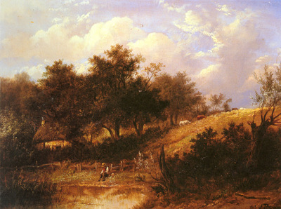 Thors Joseph Landscape With Figures Resting Beside A Pond
