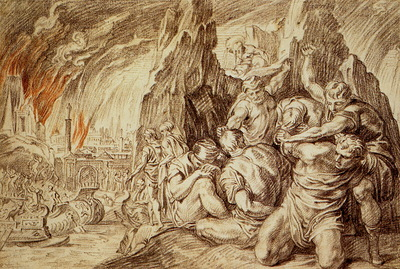 Thulden van Theodoor The Greeks leave after fire of Troy Sun