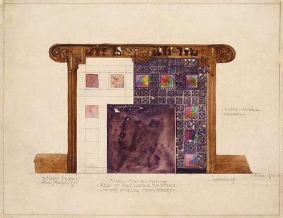 Tiffany Design for Mosaic Mantel Facing in residence of Mrs  Louis G  Kaufman