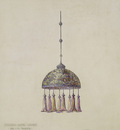tiffany drawing for magnolia hanging dome shade ca  1905
