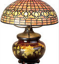 Tiffany Pomegranate Lamp with Mariposa Pottery Base