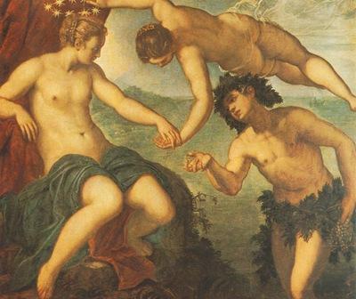 Tintoretto Ariadne, venus and Bacchus, 1576, 146x157 cm, Sal