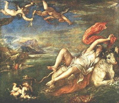 TIZIANO RAPE OF EUROPA, Isabella Stewart Gardner Museum