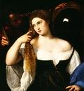 Tiziano La jeune fille au miroir, ca 1512 15, 93x76 cm, Louv