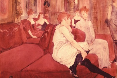 in the salon at the rue des moulins, toulouse lautrec