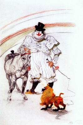 lautrec at the circus, horse and monkey dressage