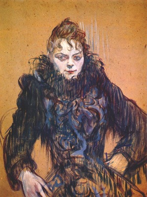 lautrec woman with a black feather boa c1892