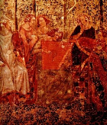 Traini Triumph of death detalj , ca 1350, Campo santo,Pisa
