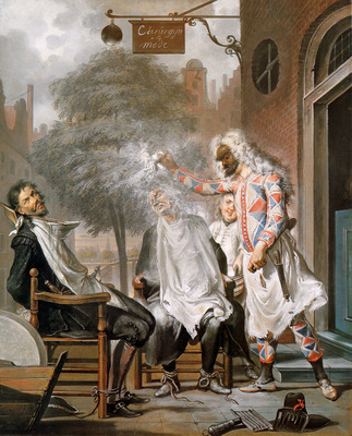 Troost Cornelis Harlequin Magican And Barber Deceived R