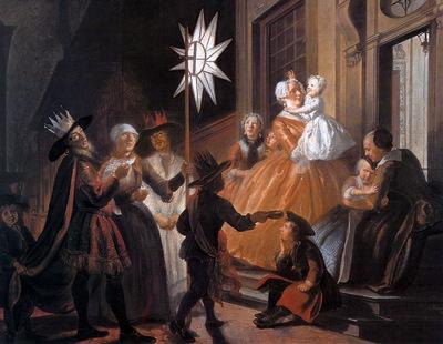 Troost Cornelis Singing Round The Star On Twelfth Night Sun