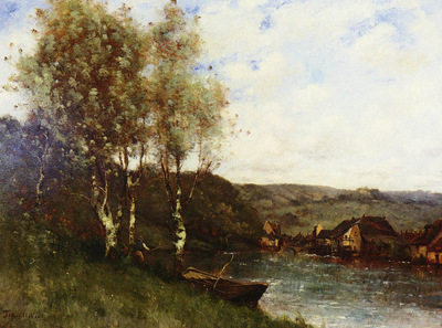 Trouillebert Paul Desire FISHERMAN AT THE RIVER S EDGE