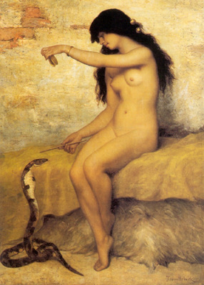 Trouillebert Paul de Sire The Nude Snake Charmer