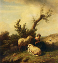 Tschaggeny Edmond Jean Baptiste A Shepherdess And Her Flock
