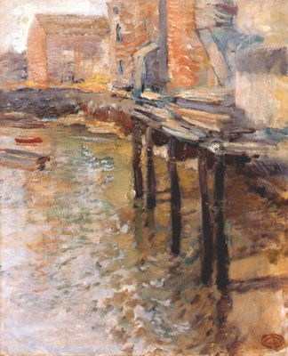 twachtman the old mill at cos cobb c1900