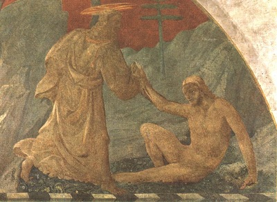 UCCELLO CREATION OF ADAM, fresk 1445, GREEN CLOISTER, SANTA