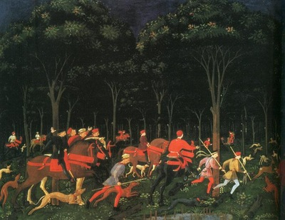 UCCELLO THE HUNT IN THE FOREST LEFT ,1468, ASHMOLEAN MUSEUM