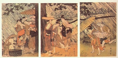 utamaro shower 1 triptych early 1800s