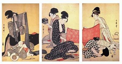 utamaro women making dresses 1 triptych mid 1790s