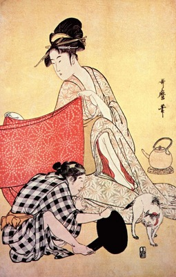 utamaro women making dresses 4 right panel