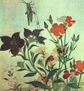 utamaro rice locust red dragonfly pinks chinese bell flowers
