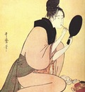 utamaro beauty putting on rouge mid 1790s