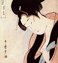 utamaro woman in bedroom on rainy night c mid 1790s