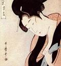 utamaro woman in bedroom on rainy night c mid 1790s