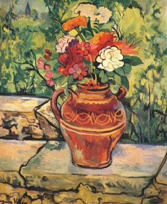 valadon vase of flowers on low wall