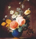 vallayer coster roses ramunculus etc in blue vase c1775