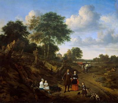 Velde van de Adriaen Family in landscape Sun