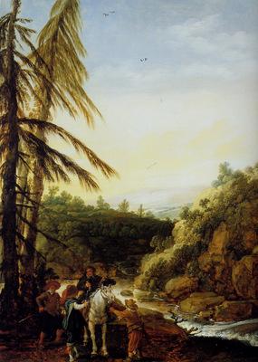 Velde van de Esaias Landscape robbing of a equestrian Sun
