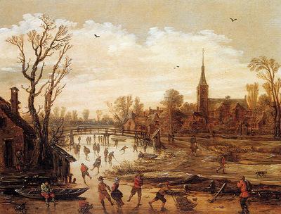 Velde van de Esaias Winter landscape Sun