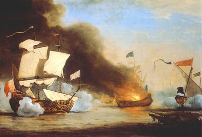 Velde The Younger An English Ship In Action With Barbary Corsairs