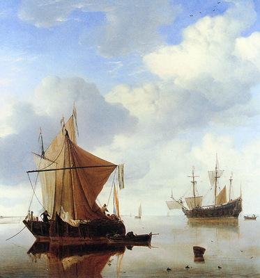 Velde van de Willem jr A calm sea Sun
