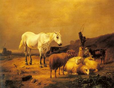 Verboeckhoven Eugene A Horse Sheep And Goat In A Landscape