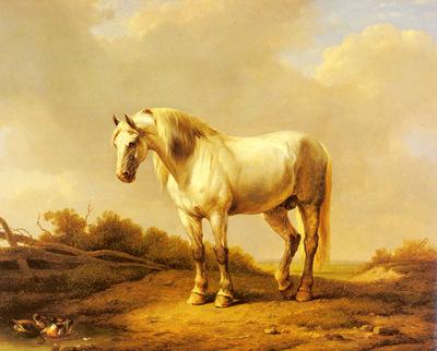 Verboeckhoven Eugene Joseph A White Stallion In A Landscape