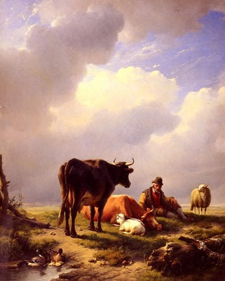 Verboeckhoven Eugene Joseph A farmer At Rest With His Stock