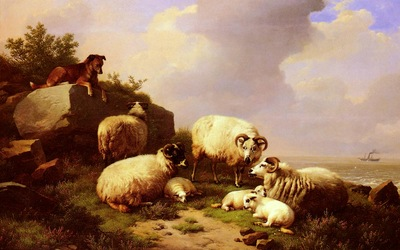 Verboeckhoven Eugene Joseph Guarding The Flock By The Coast