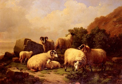 Verboeckhoven Eugene Joseph Sheep grazing By The Coast