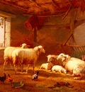 Verboeckhoven Eugene Joseph Sheep With Chickens And A Goat In A Barn