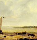 Verboeckhoven Louis Fishing Off A Jetty With A Village Beyond
