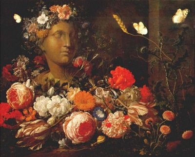 verendael flowers round a classical bust c1680