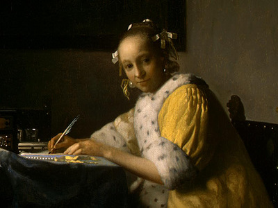 VERMEER A LADY WRITING DETALJ 1 NGW