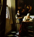 Vermeer Lady writing a letter with her maid, ca 1670, 72 2x5