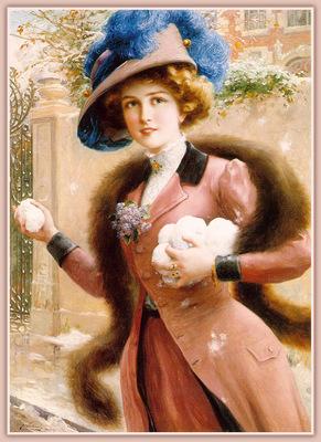 Vernon An Elegant Lady Throwing Snowballs sj