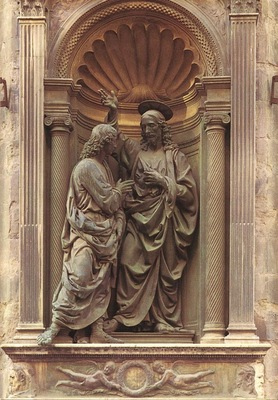 Verrocchio Christ and Doubting Thomas