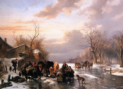 Verschuur Wouterus Country folk in a winter landscape Sun