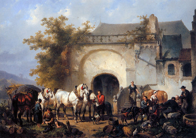 Verschuur Wouterus Horses and figures outside a farmstead Su
